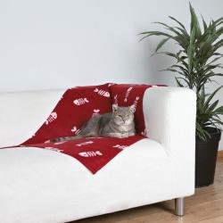 Fleecová deka pro psy a kočky vínová + rybky 100x70cm