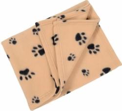 Fleecová deka pro psy a kočky hnědý + tlapky 100x70cm