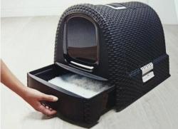 Toaletka WC pro kočky domek Rattan 39x39x51cm antracit