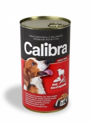 Calibra konzerva pro psy hovězí+játra+zelenina v želé 1240g