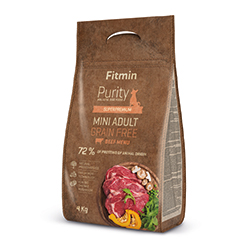 Fitmin dog Purity Grain Free Adult MINI Beef 4kg + PAMLSKY ZDARM