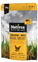 Nativia REAL MEAT chicken&rice 1kg - 72% MASA, NOVINKA!