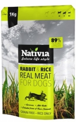 Nativia REAL MEAT rabbit&rice 1kg - 73% MASA, NOVINKA!