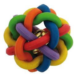 Splétaný míček z tvrdé gumy s rolničkou 5cm - SLEVA 30%