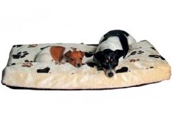 Polštář pro psy plyšový béžový s tlapkami, různé velikosti Velik