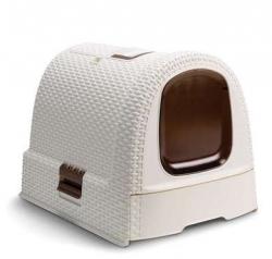Toaletka WC pro kočky domek Rattan béžová + DOPRAVA ZDARMA