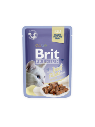 Brit Premium Cat Pouch with Beef Fillets in Jelly for Adult Cats 85g