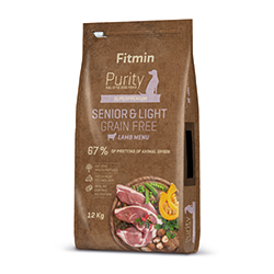 Fitmin dog Purity Grain Free Senior&Light Lamb 2kg + PAMLSKY ZDARMA!